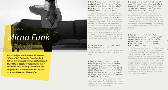 """Interview // Mirna Funk. """"Finding the Beauty of Contradictions"""""""